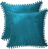 "Andreannie Pack of 2 Sot Velvet with Ball Cozy Solid Decorative Throw Pillow Covers Cushion Case for Sofa Outdoor Living Room Square 18 inches (Teal Blue, 18""x18"")"