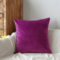 YESHOME Throw Pillow Covers Decorative with Soft Velvet Solid Cushion Cover Bedroom Office Car 18x18 Eggplant Purple