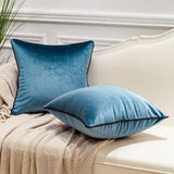 Avigers Pack of 2 Luxury Warp-Knitted Velvet Solid Soft Decorative Square Throw Pillow Covers Set Cushion Case for Sofa Bedroom Car 18 x 18 Inches 45cm x 45cm, Teal Blue