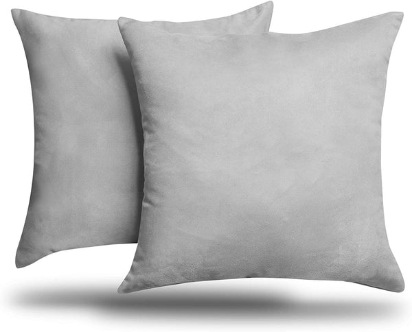 "ALEXANDRA'S SECRET HOME COLLECTION 2-Pack Solid Faux Suede Decorative Throw Pillow Cover/Sham (18"" x 18"", Gray)"