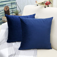 WEAVERBIRD Solid Decorative Throw Pillows (18 x 18) for Couch Sofa Bedroom, Dark Blue 2 Pack