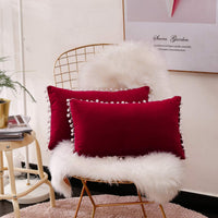 Lihio Throw Pillows Covers Decorative with Pom Poms Cushion Covers Velvet Rectangle Solid Color Soft Sofa Chair Home Set of 2,12x20 Inch Wine
