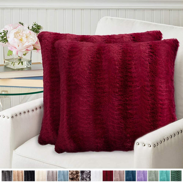 The Connecticut Home Company Original Faux Fur Pillowcases, Set of 2 Decorative Case Sets, Throw Pillow Covers, Luxury Soft Cases for Bedroom, Living Room, Sofa, Couch and Bed, 18x18, Merlot
