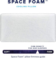 Space Foam Memory Foam Cooling Pillow – Breathable, Cool and 75% Lighter Than Other Memory Foam Pillows – Firm & Supportive for Side Sleepers with Zippered IceFibre Cover – King, Firm