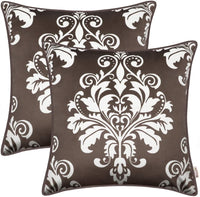 BRAWARM Pack of 2 Cozy Fleece Throw Pillow Covers Cases for Couch Sofa Manual Hand Painted Vintage Solid Damask Floral with Piping 18 X 18 Inches Bright Orange