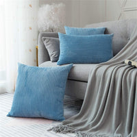 Sipeien Pack of 2 Corduroy Striped Cushion Covers Ultra Cozy Rectangular Throw Pillow Cases for Sofa Couch Bedroom Car,Light Blue,12x20inch 30x50cm