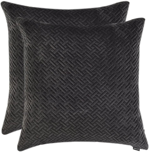 "Artcest Set of 2, Decorative Velvet Bed Throw Pillow Case, Sofa Soft Quilted Pattern, Comfortable Couch Cushion Cover, 16""x16"" (Dark Grey)"