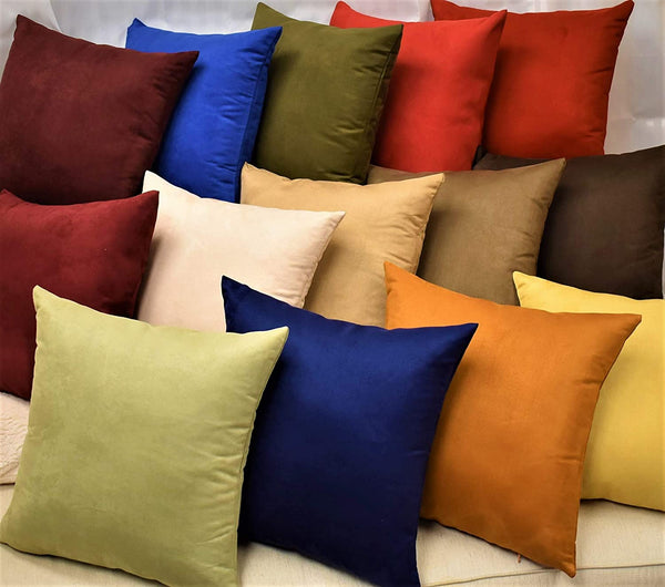 MoonRest Pack of 2- Suede Square Decorative Throw Pillow Covers Sofa sham Solid Colors Couch Cushion Pillowcases (20 x 20 Copper)