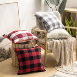 MIULEE Set of 2 Retro Farmhouse Buffalo Plaid Check Pillow Cases with Pom-poms Decorative Throw Pillow Covers Cushion Case for Sofa Couch 18x18 Inch Grey and White