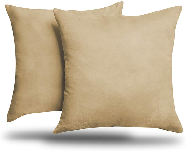 "ALEXANDRA'S SECRET HOME COLLECTION 2-Pack Solid Faux Suede Decorative Throw Pillow Cover/Sham (18"" x 18"", Beige)"