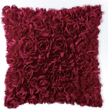 MIULEE 3D Decorative Romantic Stereo Chiffon Rose Flower Throw Pillow Cover Solid Square Pillowcase for Sofa Bedroom Car 18x18 Inch 45x45 cm Wine Red