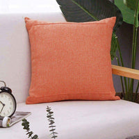 Jepeak Burlap Linen Throw Pillow Cover Cushion Case, Farmhouse Modern Decorative Solid Square Thickened Pillow Case for Sofa Couch (20 x 20 Inches, Blaze Orange)
