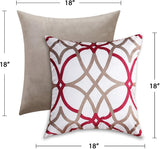 "H.VERSAILTEX 2 Pack Home Decor Design Throw Pillow Case Cushion Covers Velvet Pillows Decorative Throw Pillows 18"" x 18"" 45 x 45 cm,1x Taupe and Red Geo + 1x Solid Taupe"