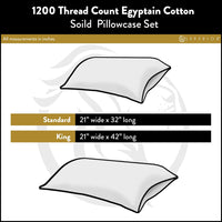 Superior 1200 Thread Count 100% Egyptian Cotton, Soft and Breathable, 2-Piece King Pillowcase Set Solid, White