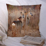 Throw Pillow Case Brown Field Tail European Roe Outside Wilderness Deer Feeding Fauna Buck by Edge Forest Oak Design Polyester Square Pillow Cushion Covers for Couch Home Decorations 18x18 Inch
