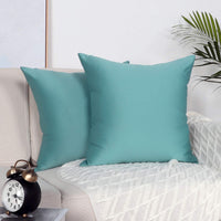 Mandioo Set of 2 Cozy Faux Silk Throw Pillow Covers Cases Decorative for Couch Sofa Home Solid Square 18 x 18 Inches, Teal