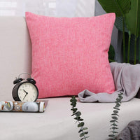 "Bursonvic Cotton Linen Throw Pillow Cover, Home Farmhouse/Modern Decorative Solid Pillow Case Cushion Cover for Sofa (Hot Pink, 16"" x 24"")"