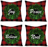 "Ussap 4 Pack Buffalo Plaid Wreath Joy Noel Believe Peace Christmas Winter Holiday Decoration Xmas Farmhouse Decorative Throw Pillow Cover Cushion Case for Sofa Couch Home Decor Cotton Linen 18"" x 18"""
