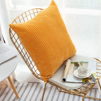 Sipeien Corduroy Striped Ultra Cozy Square Throw Pillow Covers Set Cushion Cases Pillowcases for Sofa Couch Bedroom Car,Yellow,25x25inch 63x63cm
