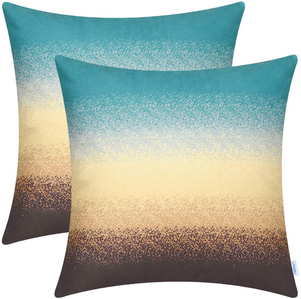 CaliTime Pack of 2 Cozy Fleece Throw Pillow Cases Covers for Couch Bed Sofa Farmhouse Modern Gradient Ombre Rainbow Stripes 18 X 18 Inches Teal to Coffee