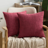 MIULEE Pack of 2 Decorative Linen Burlap Pillow Cover Square Solid Throw Cushion Case for Sofa Car Couch 18x18 Inch 45x45 cm Navy Blue