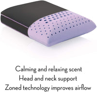 MALOUF Z Zoned Dough Memory Foam Infused with Real Lavender Oil-12 Inch x 16 Inch Travel Size Aromatherapy Pillow