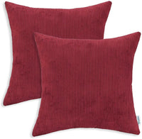 CaliTime Pack of 2 Cozy Throw Pillow Covers Cases for Couch Bed Sofa Ultra Soft Corduroy Striped Both Sides 20 X 20 Inches Dark Red