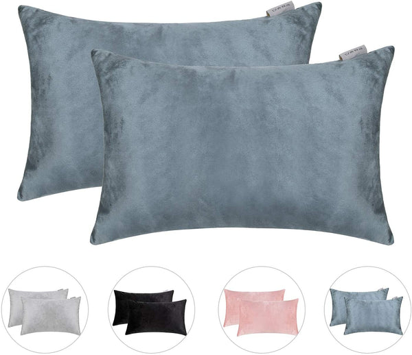 Hahadidi Pack of 2 Cozy Decorative Throw Pillow Cover,14x24 Inch(35x60cm),No Pillow Insert,Farmhouse Rectangle/Oblong Pillowcase Luxury Velvet Cushion Case Covers for Car/Bed/Sofa/Couch,Gray