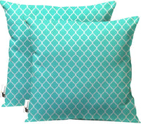 UBU Republic Retro Indoor/Outdoor Throw Pillows - Set of 2 - Boho Teal Blue Moroccan Furniture Pillows (16X16)
