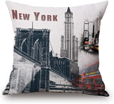 "Happy Cool Cotton Linen Square Flag Printed Decorative Throw Pillow Cushion Cover 18""x 18"" New York"