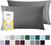 California Design Den 400 Thread Count 100% Cotton Pillow Cases, Light Grey Standard Pillowcase Set of 2, Long - Staple Combed Pure Natural Cotton Pillowcase, Soft & Silky Sateen Weave