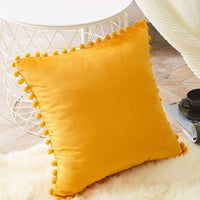 Top Finel Decorative Throw Pillow Covers for Couch Bed Soft Particles Velvet Solid Cushion Covers with Pom-poms, Pack of 1, Mustard Yellow