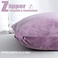 NANPIPER Set of 2 Velvet Soft Decorative Cushion Throw Pillow Covers 20x20 Inch/50x50 cm Cozy Solid Velvet Square Pillowcase CushionCovers Pink Purple for Couch and Bed