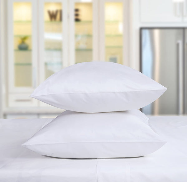 Threadmill Home Linen 600 Thread Count 100% Cotton Pillow Cases Solid Sateen Set of 2 Cotton Pillowcases King Size, Luxury Soft and Smooth, White