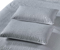 "Golden Linens Ultrasonic #D2 Over Size 115"" X 95"" King/Calking 3 Pieces Solid Color Embossed, Bedspread Coverlet Set # Ultrasonic D2 Grey/Silver, King/Calking"