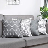 Fascidorm Throw Pillow Covers Modern Decorative Throw Pillow Case Cushion Case for Room Bedroom Room Sofa Chair Car, Grey and White, 18 x 18 Inch