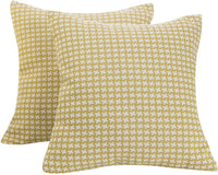 SUNSHINE FASHION Pack of 2 Modern Farmhouse Throw Pillow Covers Decorative Textured Square Accent Cushion Covers Set for Sofa, 18 x 18 inches(45cm) (Checker+Leaf-Orange, 2)