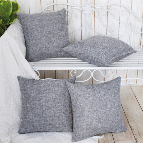 Gysan Decorative Throw Pillow Covers Solid Color Soft Cotton Linen Christmas Pillow Case for Couch Sofa Bed Car 4 Packs 18 x 18, Grey-1