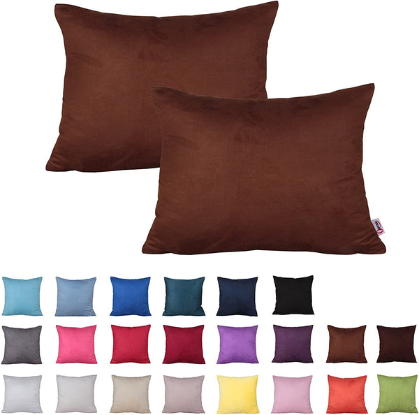 Queenie - 2 Pcs Solid Color Faux Suede Decorative Pillowcase Cushion Cover for Sofa Throw Pillow Case Available in 22 Colors & 7 Sizes (12 x 17.75 Inch ( 30 x 45 cm), Color 16 Violet)