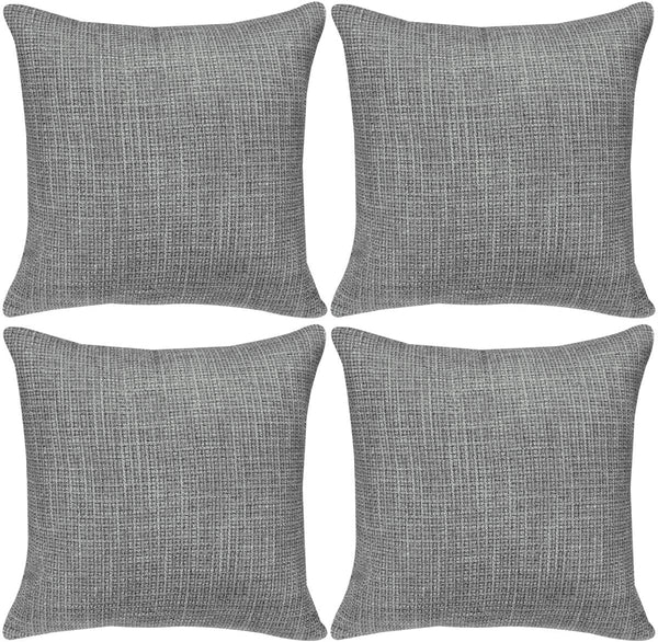 Faylapa 4 Pack Soft Solid Colors Throw Pillow Cover,Dark Gray Decorative Woven Stripe Pillow Case,Home Decoration Sofa 18×18 Inches (45×45cm)(Case ONLY)