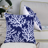CaliTime Pack of 2 Supersoft Throw Pillow Covers Cases for Couch Sofa Bed Bedding Fluffy White Natural Coral Trees 18 X 18 Inches Navy Blue