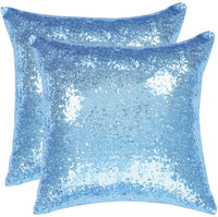 uxcell Pack of 2,Sequin Throw Pillow Covers,Shiny Sparkling Comfy Satin Cushion Covers,Decorative Pillowcases for Party/Christmas/Thanksgiving/New Year,16 x 16 Inch, Royal Blue