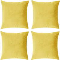 Deconovo Decorative Plush Velvet Bedroom Throw Pillow Covers 20x20 Inch Square Hand Made Solid Cushion Covers with Invisible Zipper Gold 4 PCS