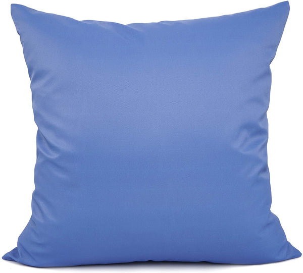 YOUR SMILE Solid Color Outdoors Waterproof Decorative Square Throw Pillow Covers Cushion Cases Pillowcases for Chair Sofa Garden,18 x 18 inch,Blue