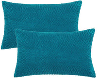 "PANDATEX Luxury Chenille Teal Blue Throw Pillow Covers Pack of 2 for Sofa Couch Chair, 12""x20"" Rectangle Corduroy Dots Home Decorative Pillowcase Solid Cushion Cover for Bedroom Living Room Car"