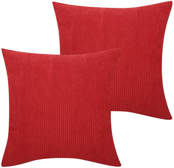 Lewondr Corduroy Throw Pillow Cover, 2 Pack Square Solid Color Corn Striped Corduroy Velvet Throw Pillow Case Cushion Cover Soft&Cosy Home Chair Seat Sofa Christmas Decor 18x18 Inch(45x45 cm) - Red