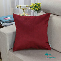 CaliTime Pack of 2 Cozy Throw Pillow Covers Cases for Couch Bed Sofa Super Soft Faux Suede Solid Color Both Sides 18 X 18 Inches Burgundy