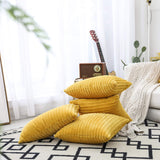 "UGASA Velvet Pillow Covers Striped, Decorative Throw Cushion Case with Hidden Zipper for Home Couch/Bedroom/Car, Soft Cozy Solid Square, 1 Pack (12""x20"", Primrose Yellow)"