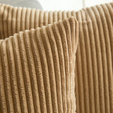 MIULEE Corduroy Soft Solid Decorative Square Throw Pillow Covers Cushion Cases Pillow Cases for Couch Sofa Bedroom Car 26 x 26 Inch, Khaki
