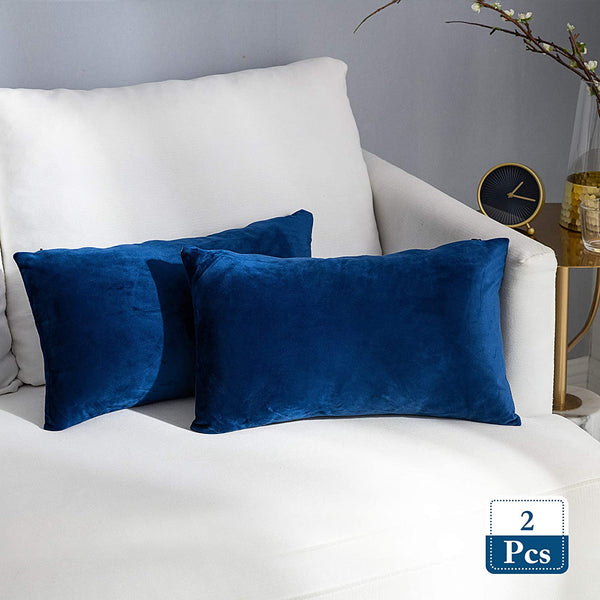 Stellhome Pack of 2 Lumbar Throw Pillow Covers Super Soft Solid Velvet Pillowcase for Bed Couch Sofa Bench, 12 x 20 inch (30 x 50 cm), Navy Blue